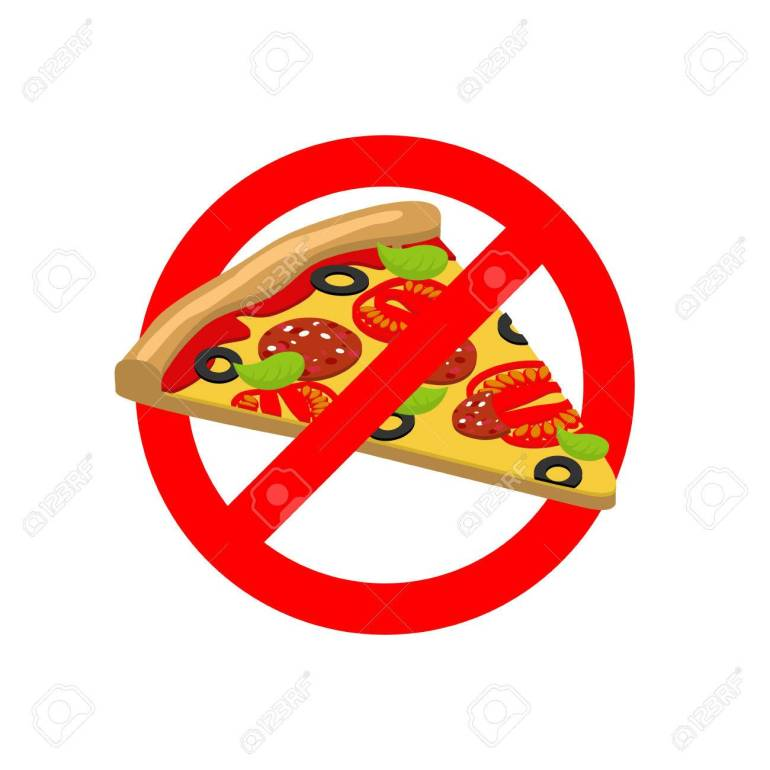 Stop Pizza. Forbidden fast food. Crossed out slice of pizza. Emb